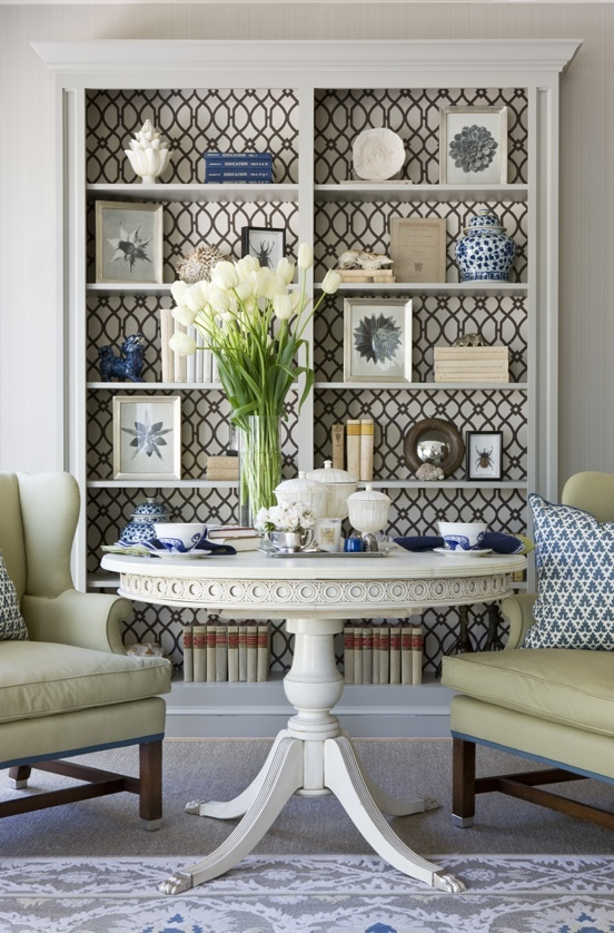 Perfect Love The Wallpapered Back Of The Bookcase And The Feel Of This Room