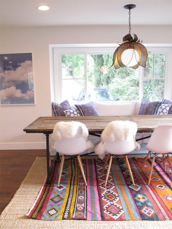 Layered Rugs In Dining Room