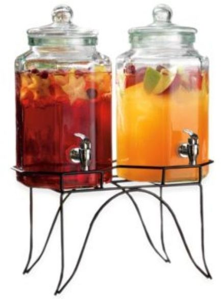beverage-dispenser-stand-iron-double-hexagon-clear-glass-refreshments-stand-9275faec3f0c7ecde6c22ad3bbf82c55